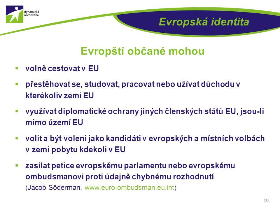 Evropští občané mohou Evropská identita volně cestovat v EU