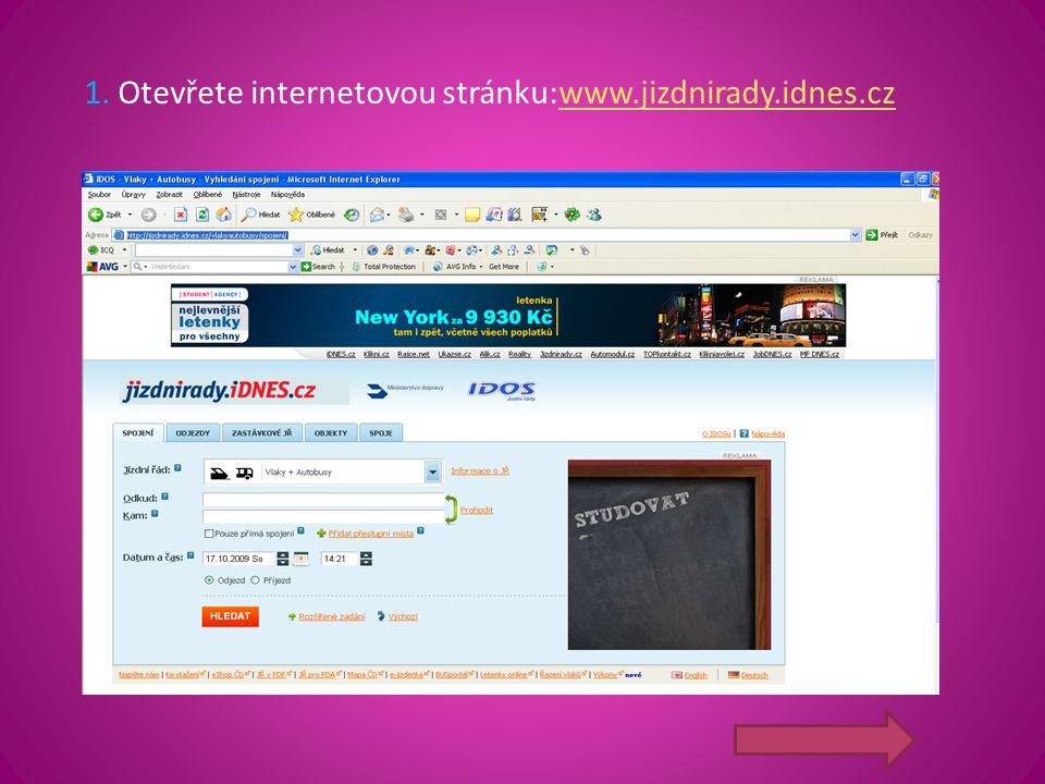 1. Otevřete internetovou stránku:www.jizdnirady.idnes.cz