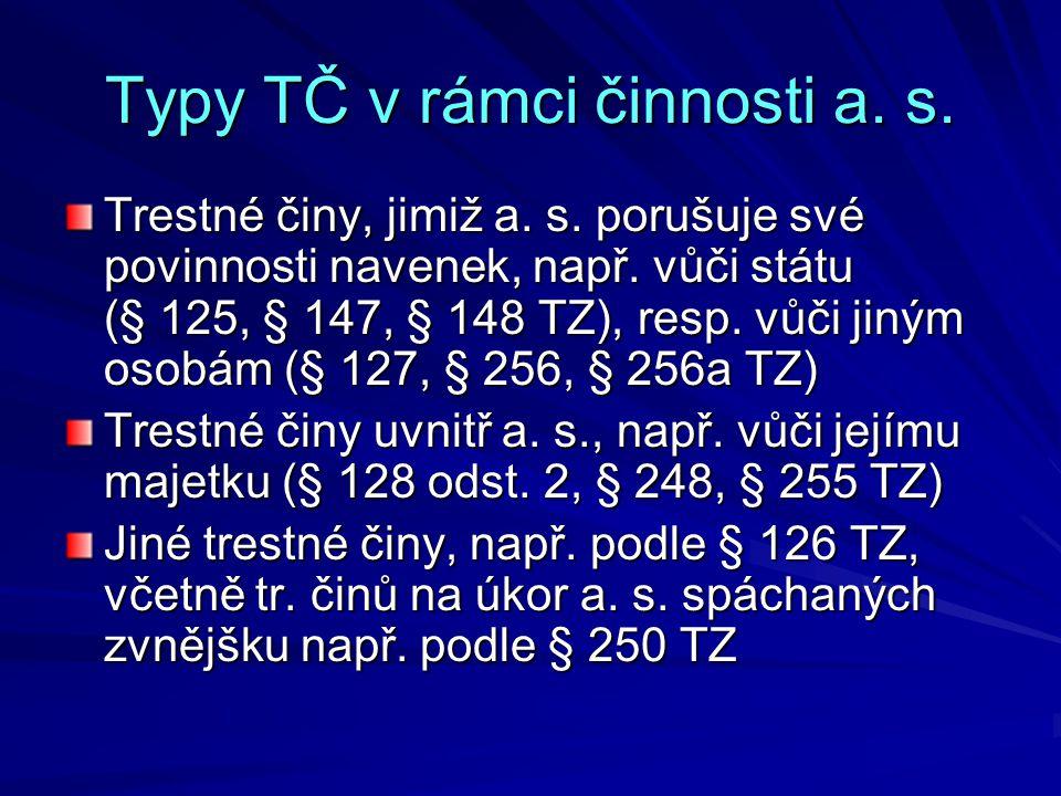 Typy TČ v rámci činnosti a. s.