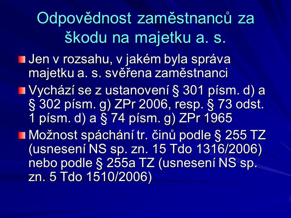 Odpovědnost zaměstnanců za škodu na majetku a. s.