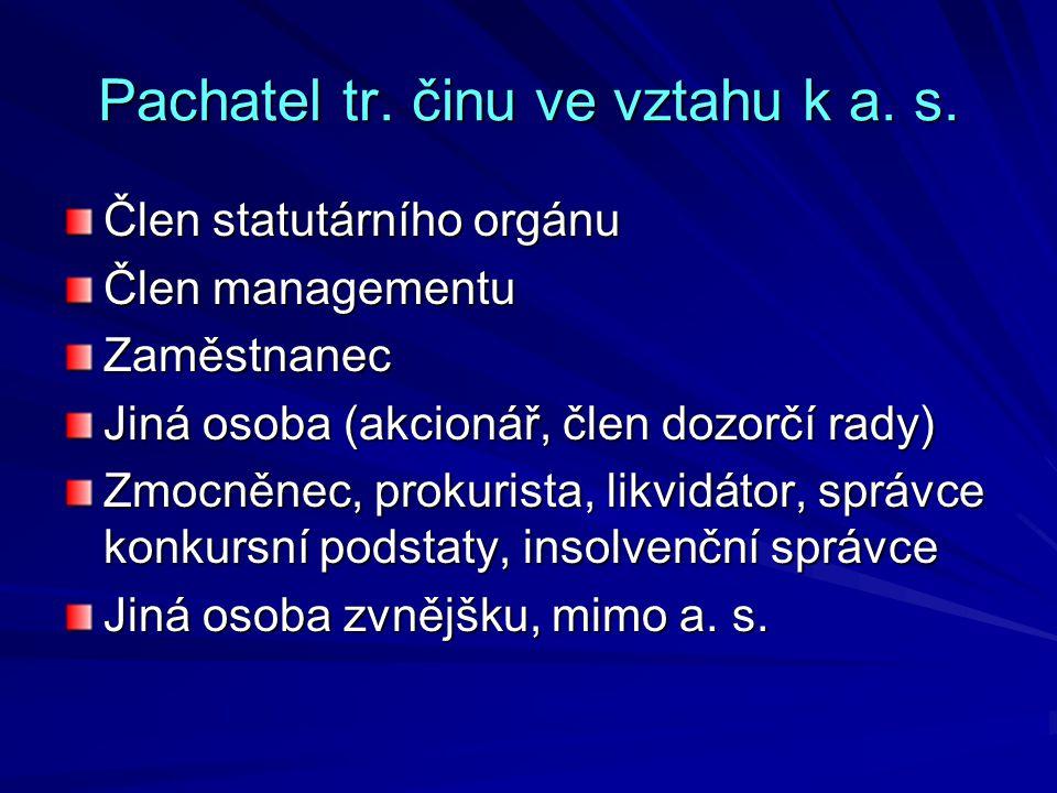 Pachatel tr. činu ve vztahu k a. s.