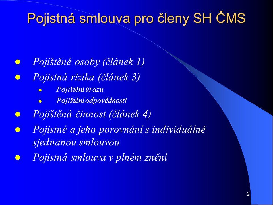 Pojistná smlouva pro členy SH ČMS