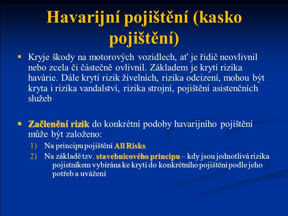Havarijní pojištění (kasko pojištění)