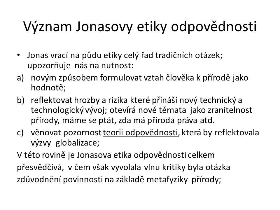 Význam Jonasovy etiky odpovědnosti