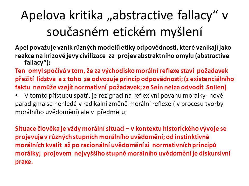"""Apelova kritika """"abstractive fallacy v současném etickém myšlení"""