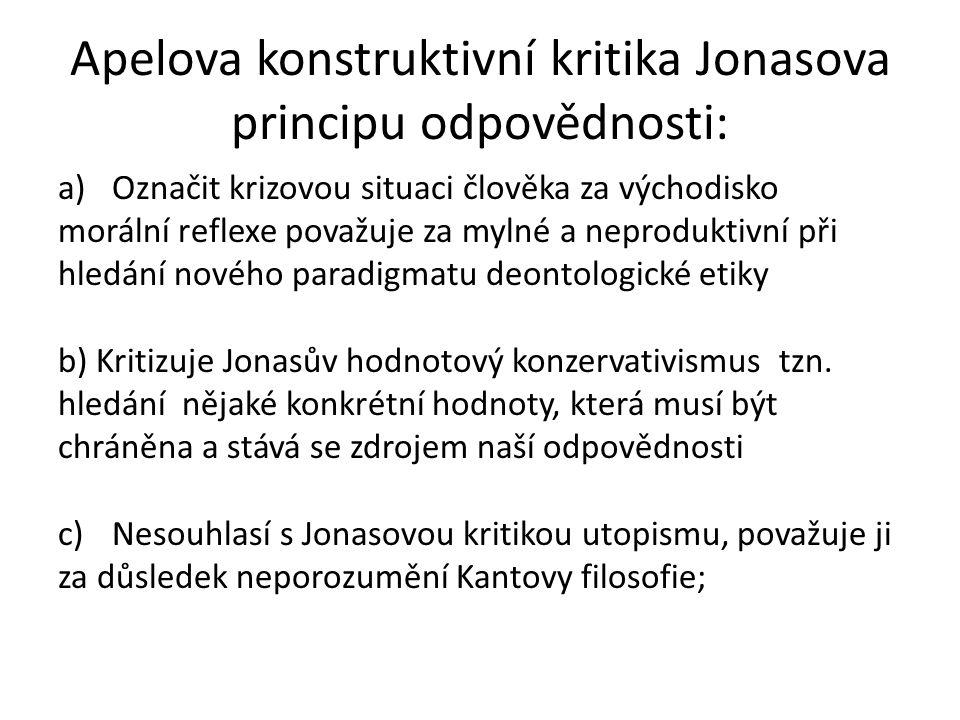 Apelova konstruktivní kritika Jonasova principu odpovědnosti: