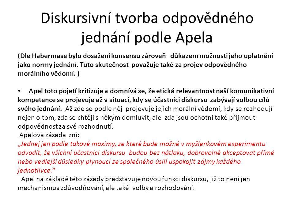 Diskursivní tvorba odpovědného jednání podle Apela