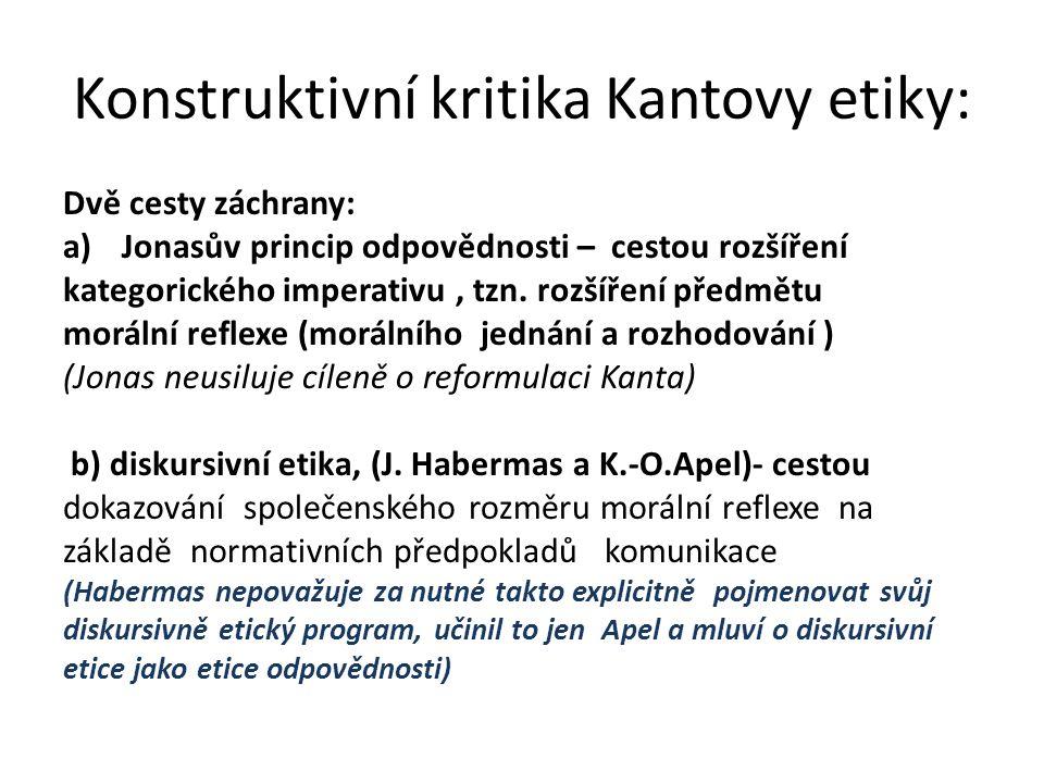 Konstruktivní kritika Kantovy etiky:
