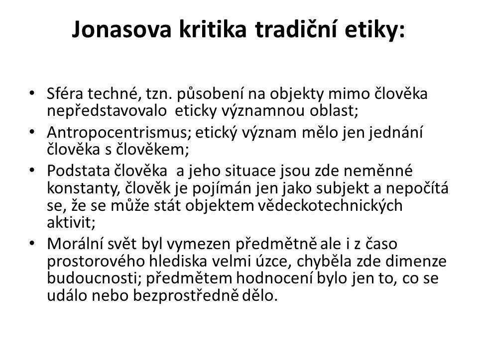 Jonasova kritika tradiční etiky: