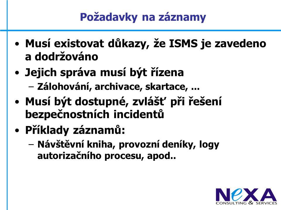 Musí existovat důkazy, že ISMS je zavedeno a dodržováno