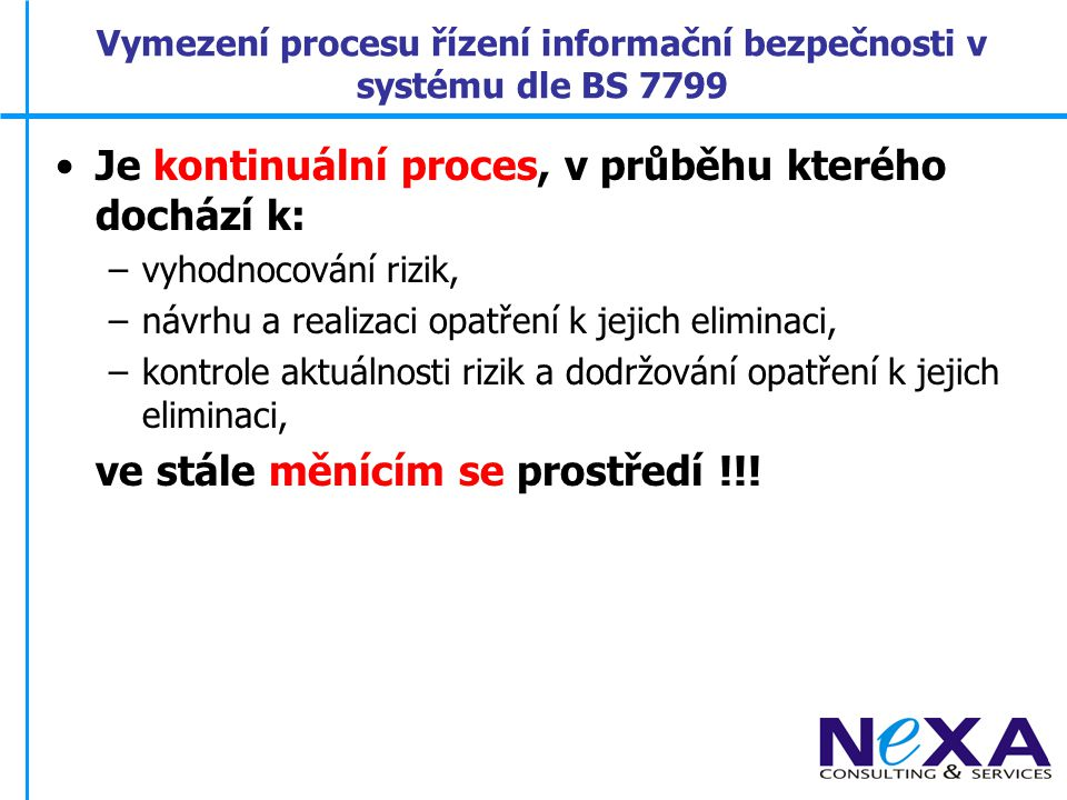 Vymezení procesu řízení informační bezpečnosti v systému dle BS 7799