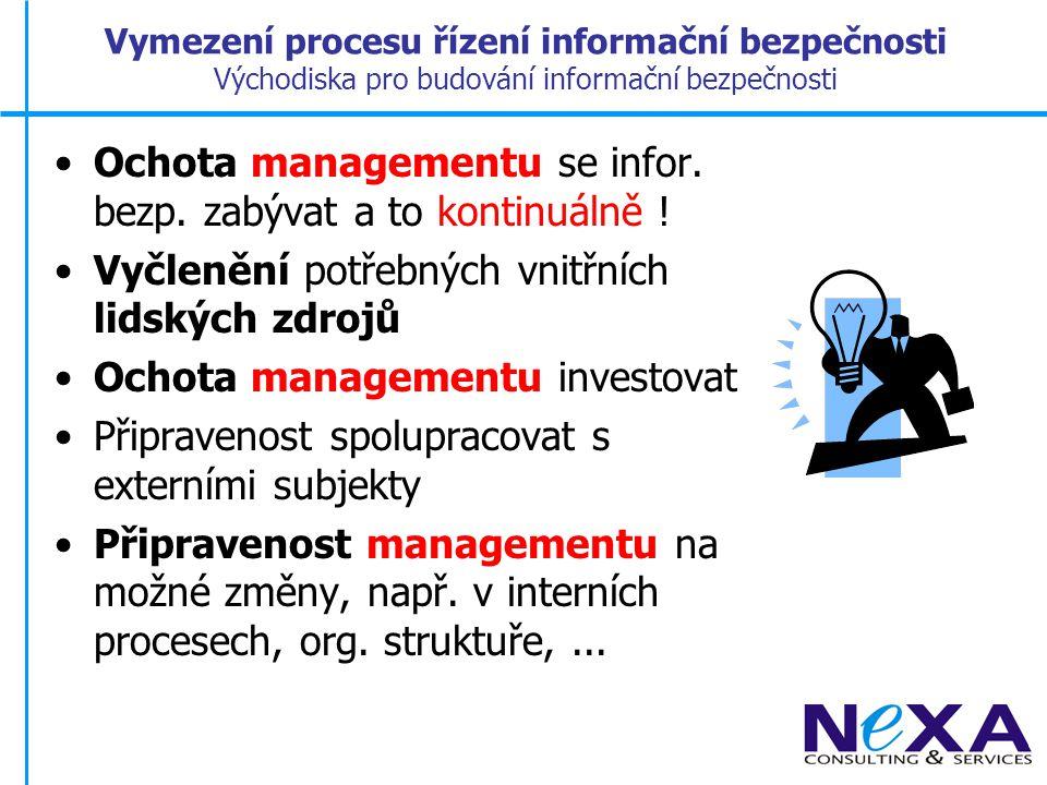 Ochota managementu se infor. bezp. zabývat a to kontinuálně !