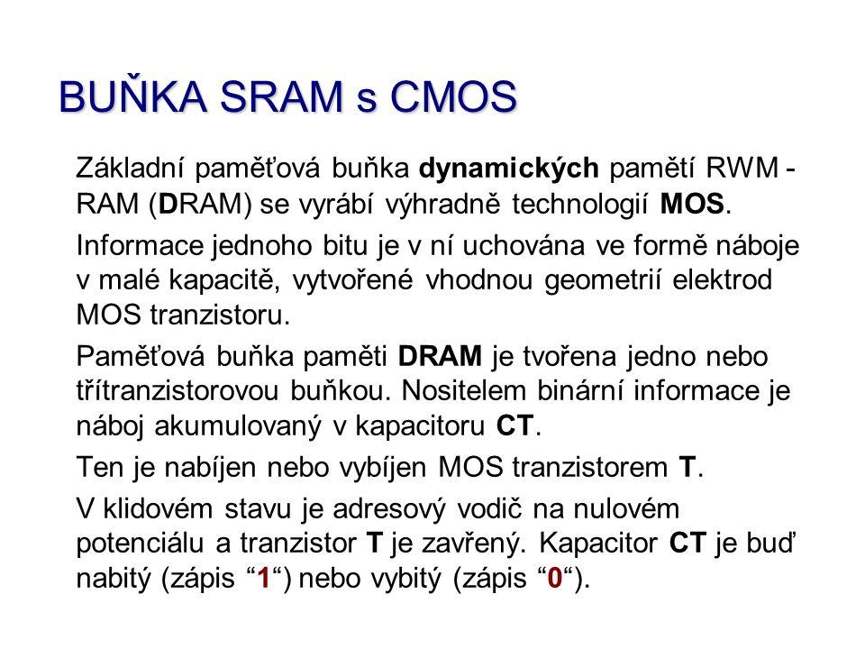 BUŇKA SRAM s CMOS Základní paměťová buňka dynamických pamětí RWM -RAM (DRAM) se vyrábí výhradně technologií MOS.