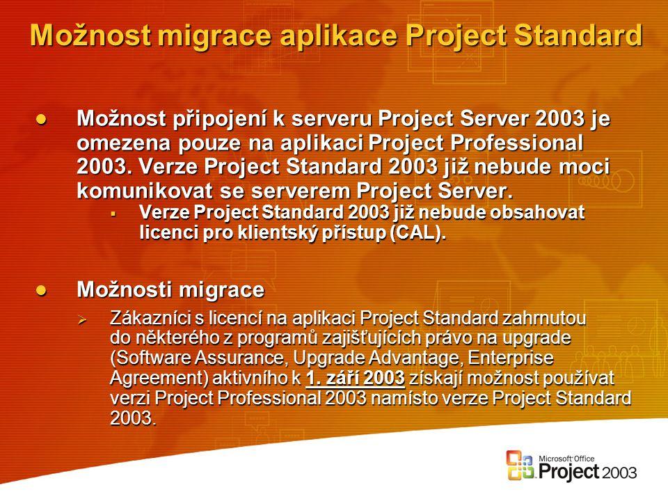 Možnost migrace aplikace Project Standard