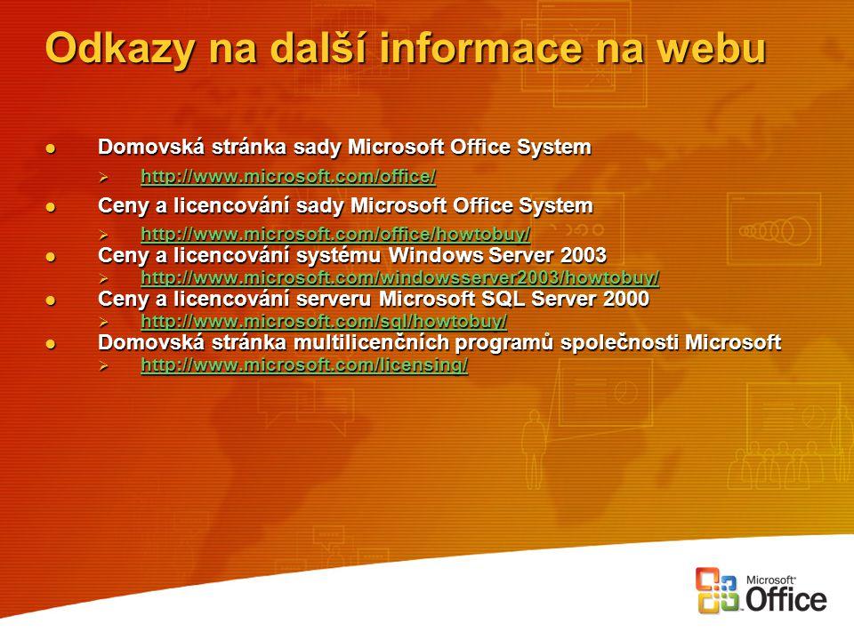 Odkazy na další informace na webu