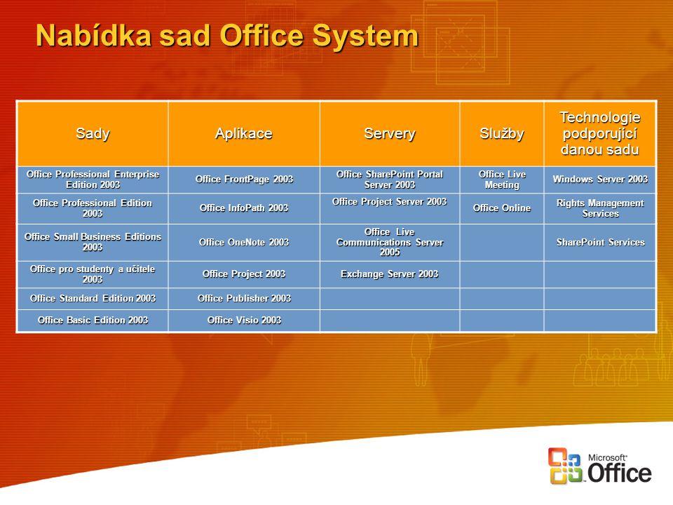 Nabídka sad Office System