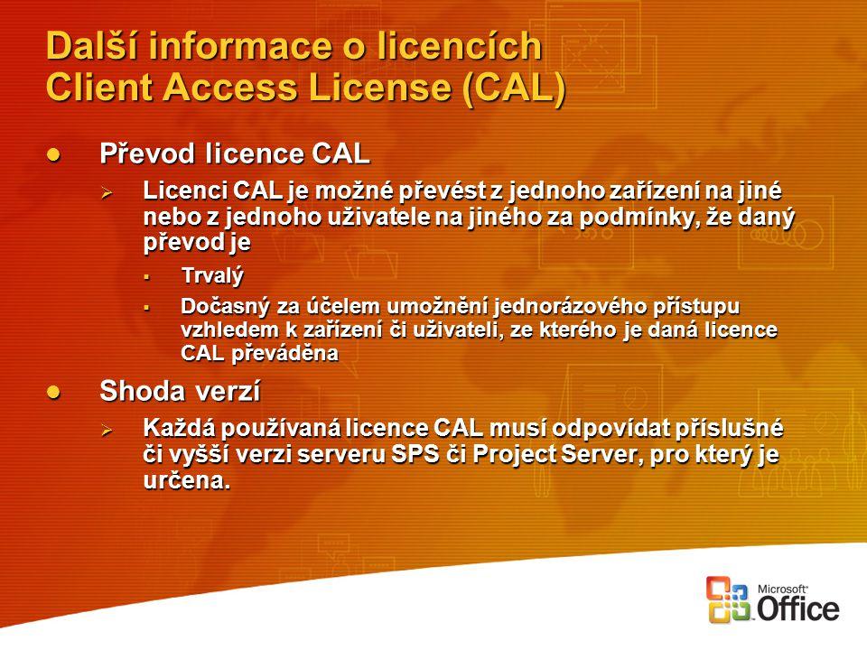Další informace o licencích Client Access License (CAL)