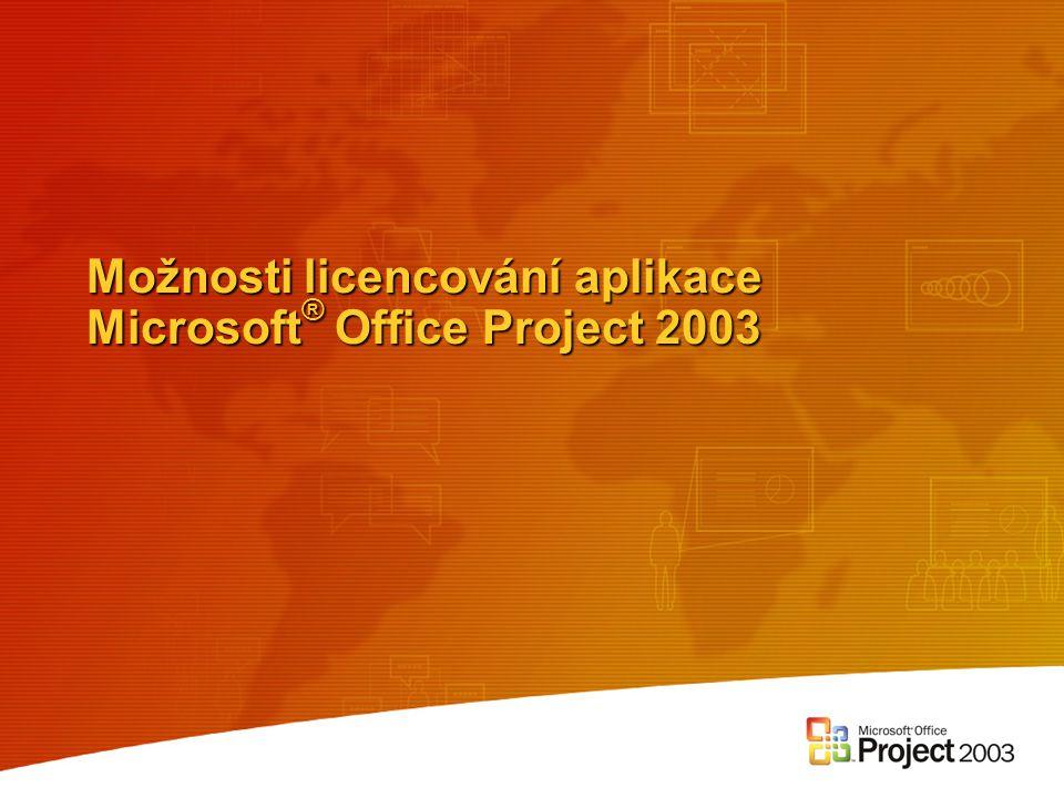 Možnosti licencování aplikace Microsoft® Office Project 2003