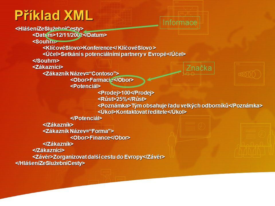 Příklad XML Informace Značka <HlášeníZeSlužebníCesty>