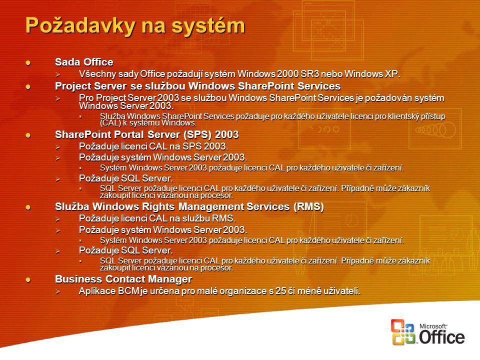 Požadavky na systém Sada Office