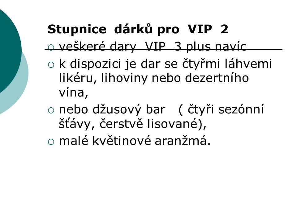 Stupnice dárků pro VIP 2 veškeré dary VIP 3 plus navíc. k dispozici je dar se čtyřmi láhvemi likéru, lihoviny nebo dezertního vína,