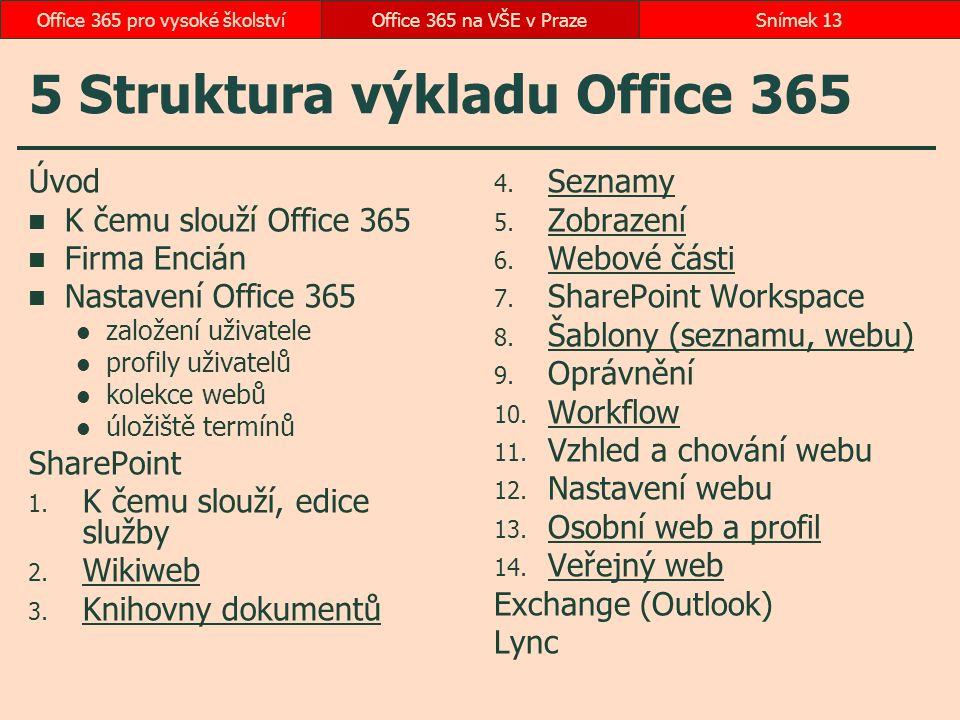5 Struktura výkladu Office 365
