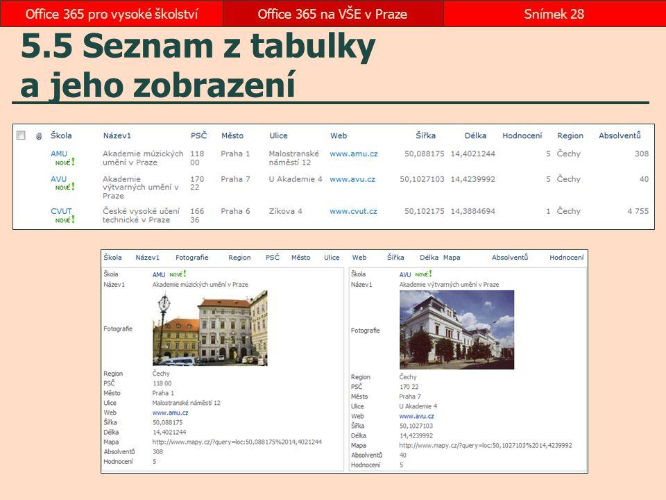 5.5 Seznam z tabulky a jeho zobrazení