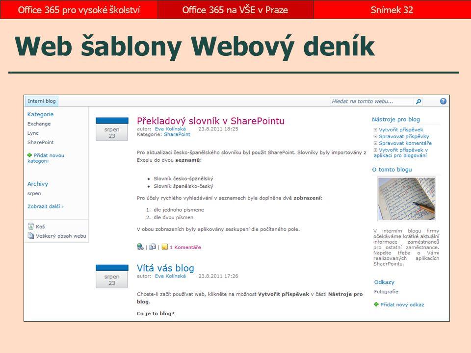 Web šablony Webový deník