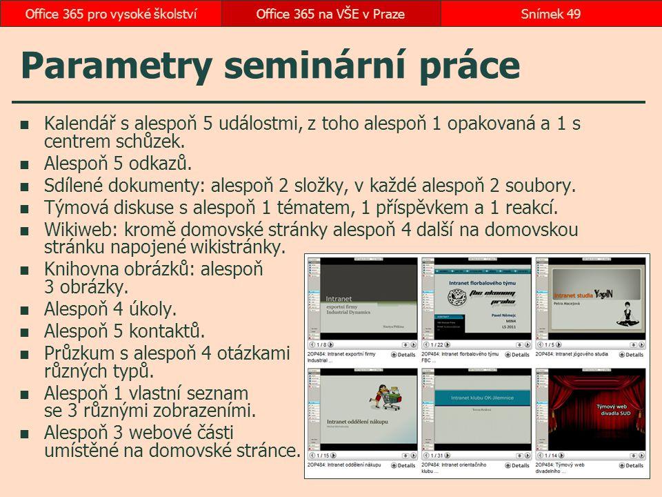 Parametry seminární práce