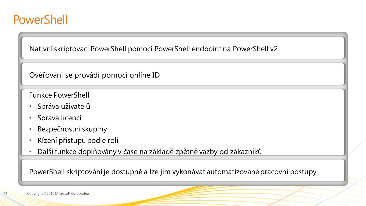 PowerShell Ověřování se provádí pomocí online ID