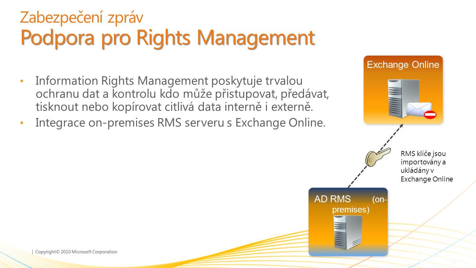 Zabezpečení zpráv Podpora pro Rights Management