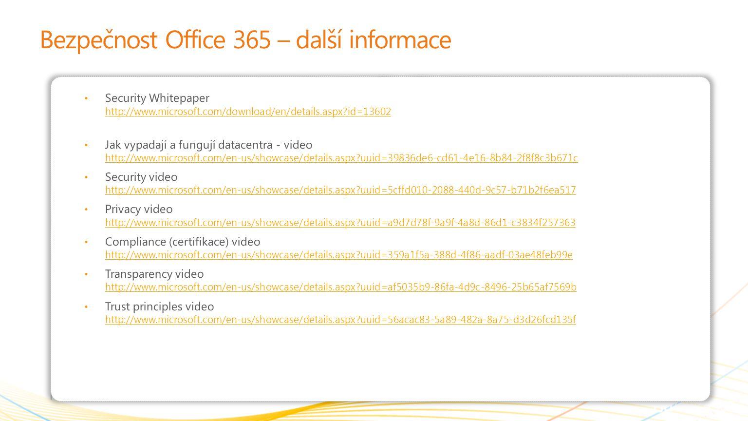Bezpečnost Office 365 – další informace