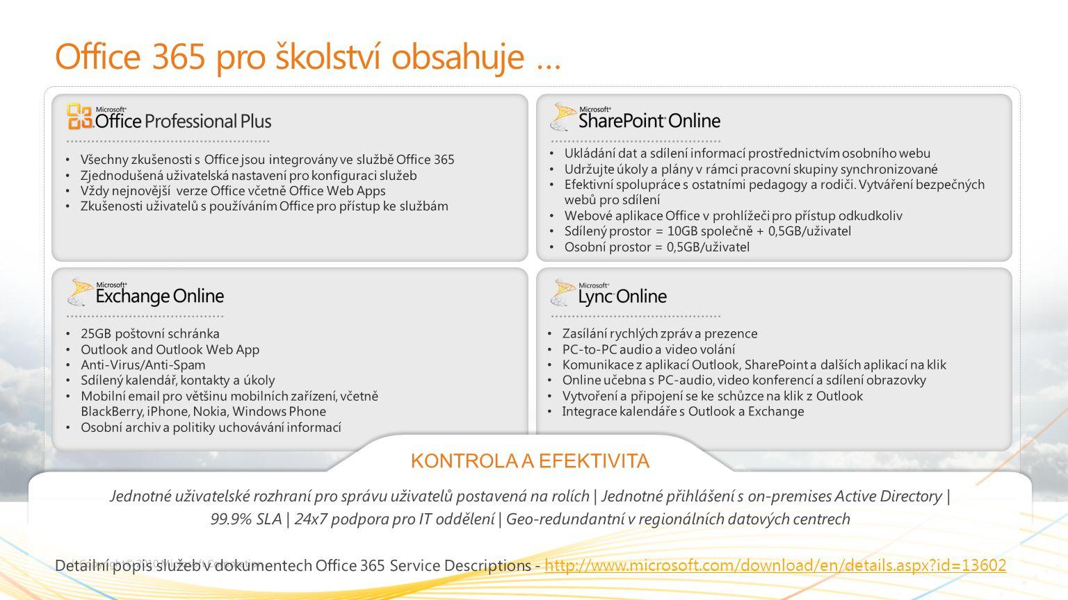 Office 365 pro školství obsahuje …