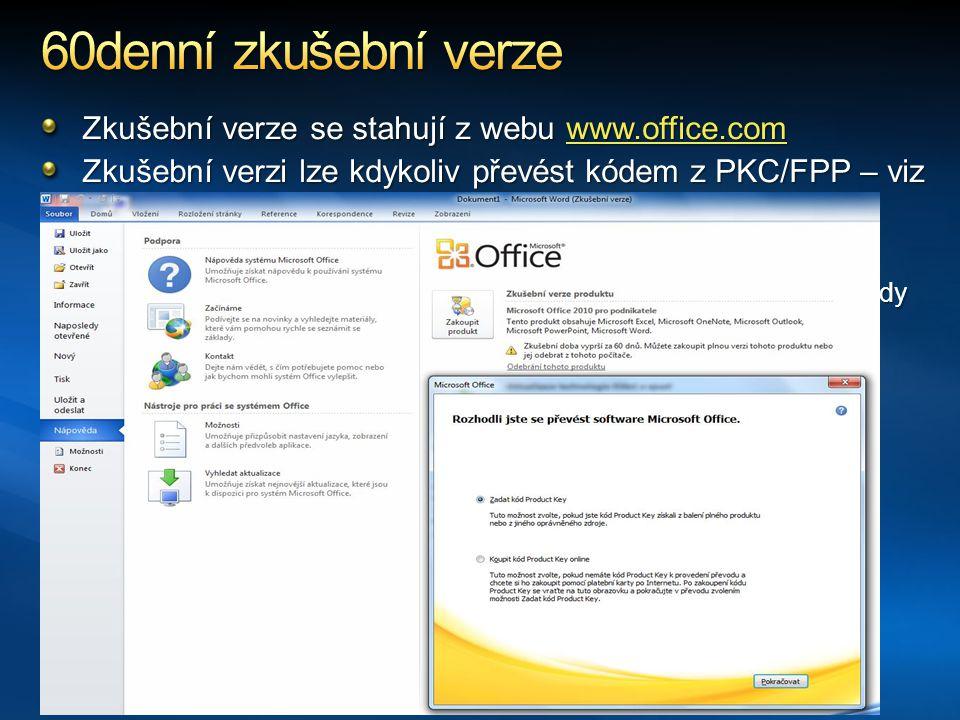 60denní zkušební verze Zkušební verze se stahují z webu www.office.com