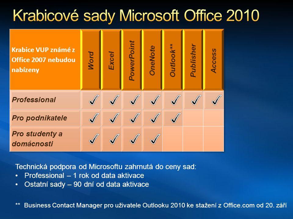 Krabicové sady Microsoft Office 2010