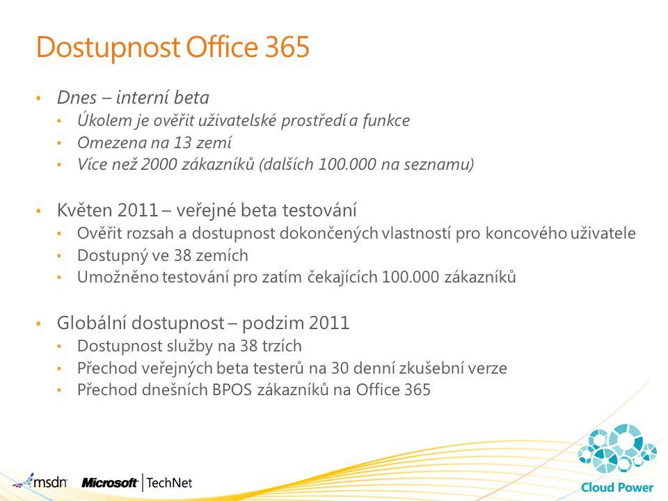 Dostupnost Office 365 Dnes – interní beta