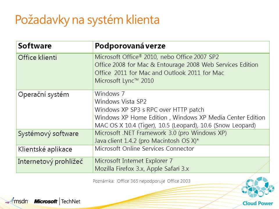 Požadavky na systém klienta