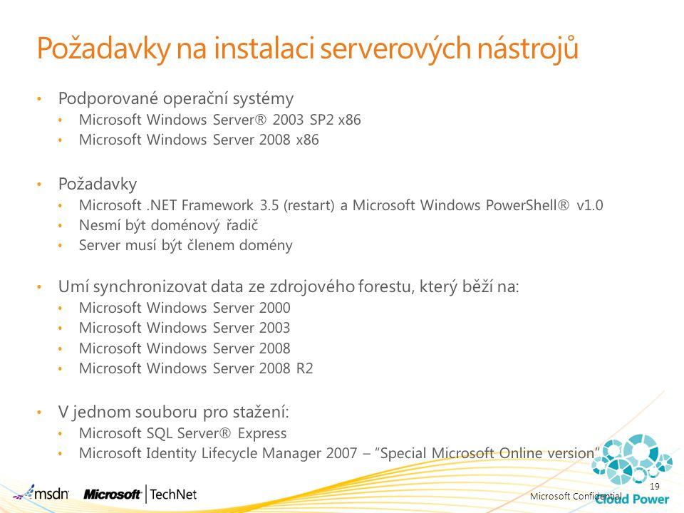 Požadavky na instalaci serverových nástrojů
