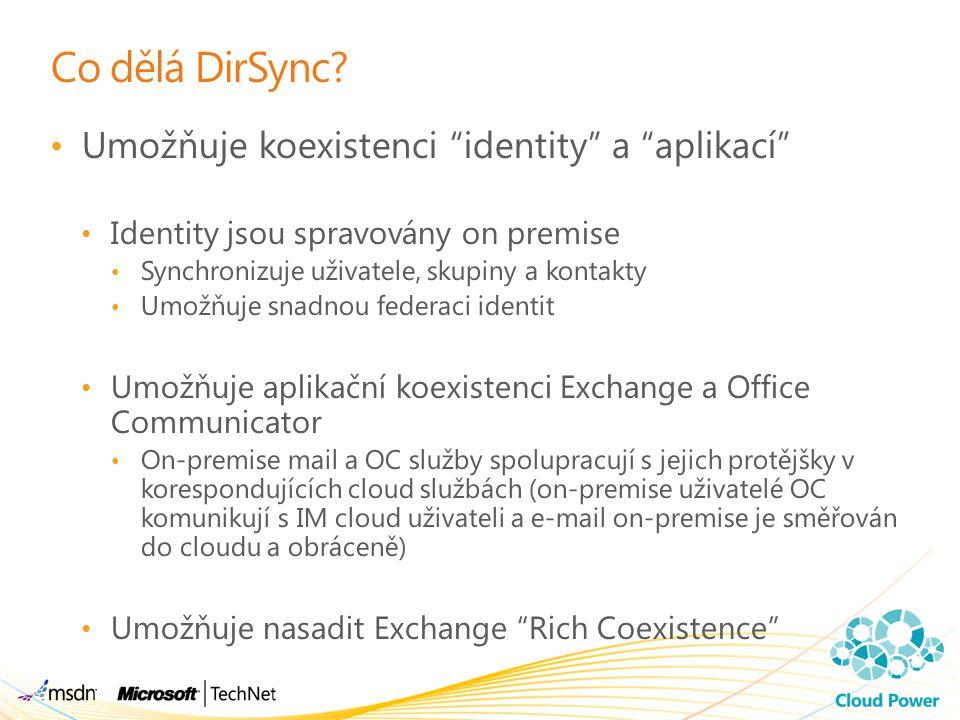 Co dělá DirSync Umožňuje koexistenci identity a aplikací