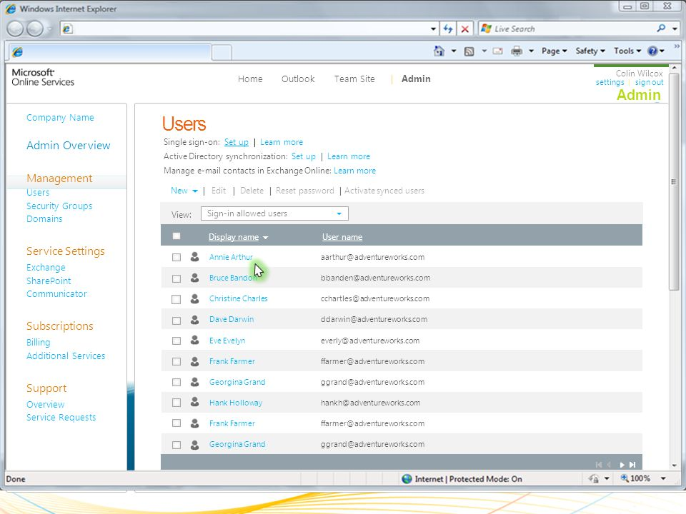 Users Admin Overview Management Service Settings Subscriptions Support