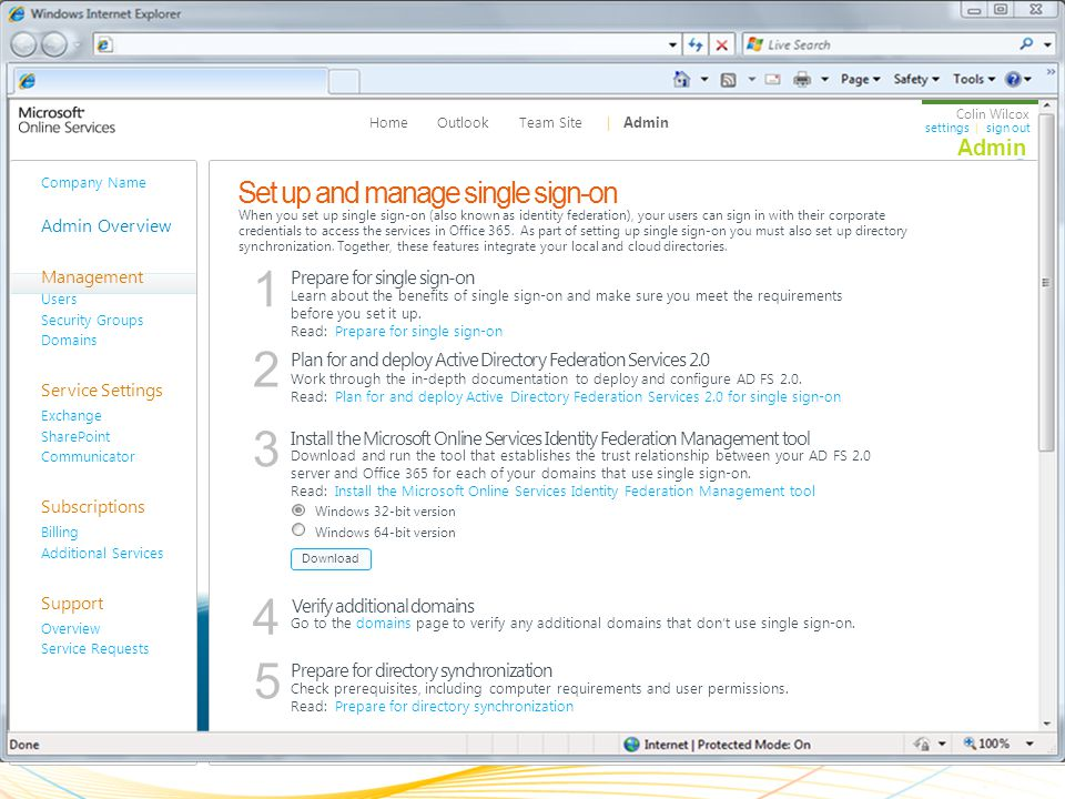 Set up and manage single sign-on Prepare for single sign-on