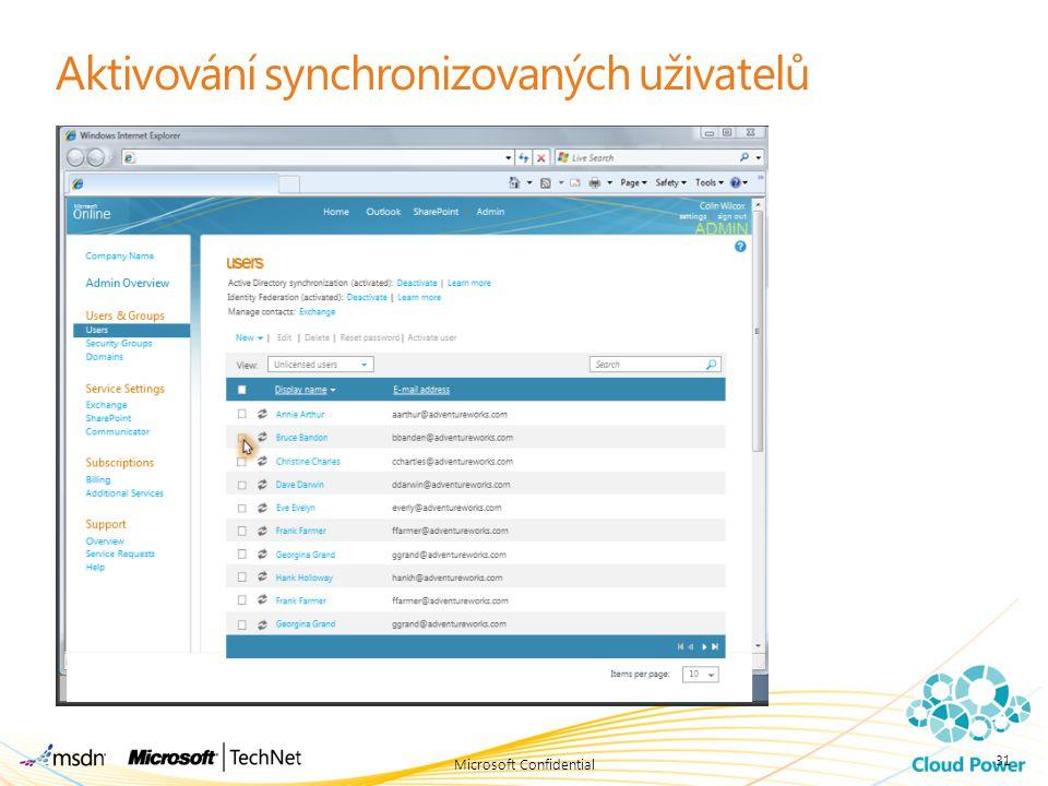 Aktivování synchronizovaných uživatelů