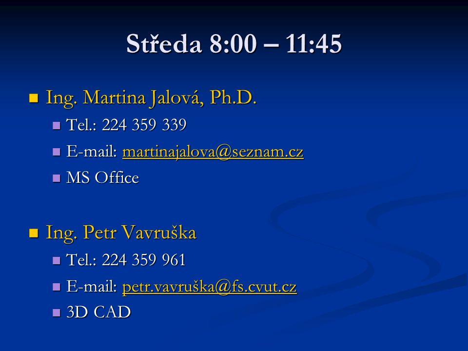 Středa 8:00 – 11:45 Ing. Martina Jalová, Ph.D. Ing. Petr Vavruška