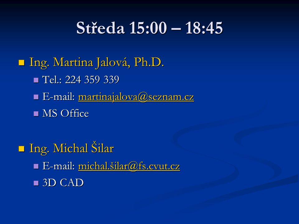 Středa 15:00 – 18:45 Ing. Martina Jalová, Ph.D. Ing. Michal Šilar