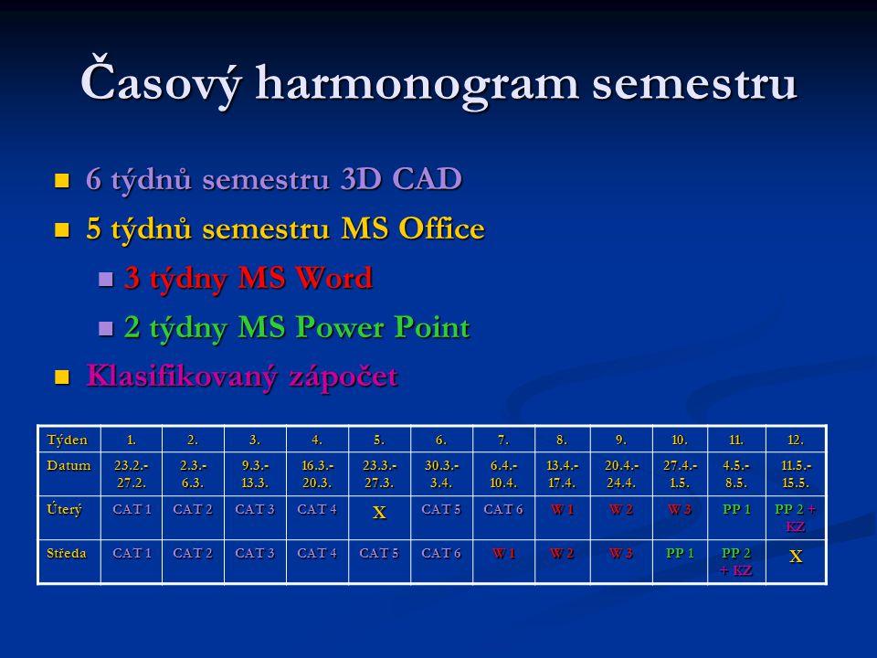 Časový harmonogram semestru