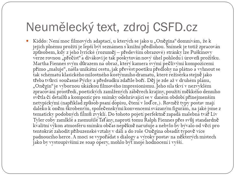 Neumělecký text, zdroj CSFD.cz