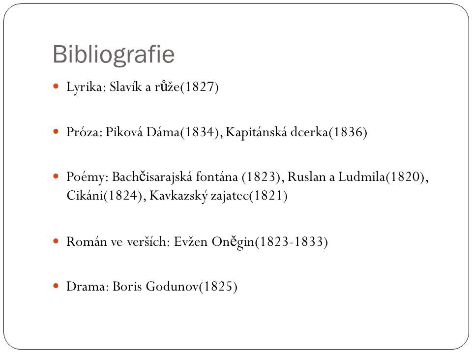Bibliografie Lyrika: Slavík a růže(1827)