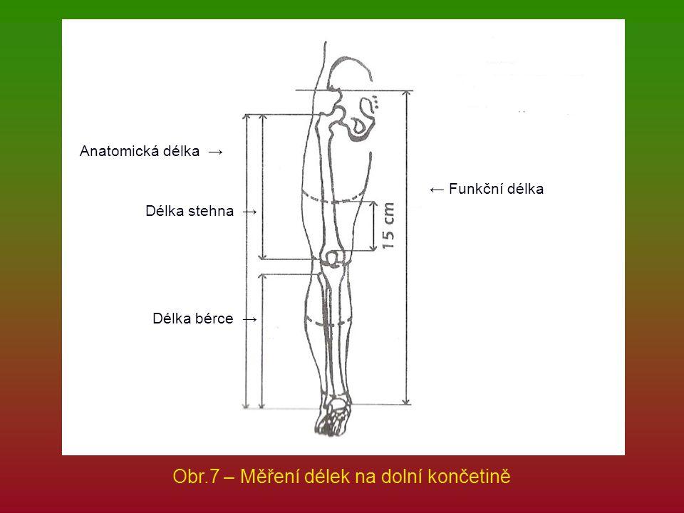 Obr.7 – Měření délek na dolní končetině