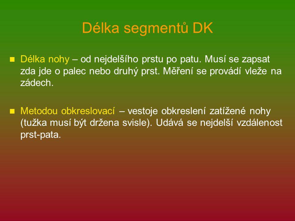 Délka segmentů DK Délka nohy – od nejdelšího prstu po patu. Musí se zapsat zda jde o palec nebo druhý prst. Měření se provádí vleže na zádech.