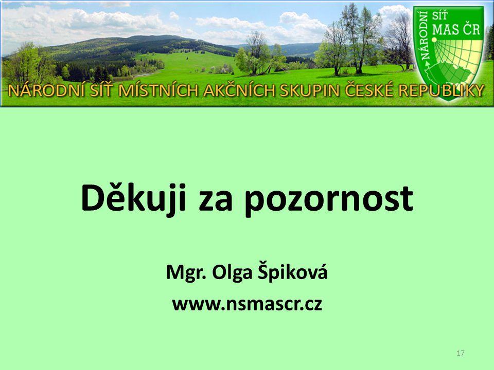Děkuji za pozornost Mgr. Olga Špiková www.nsmascr.cz